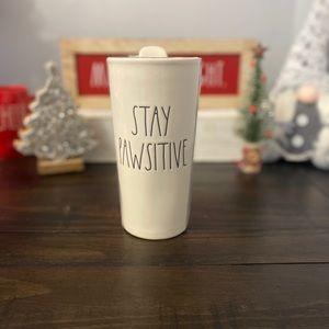 NWT Rae Dunn STAY PAWSITIVE Travel Mug/Cup